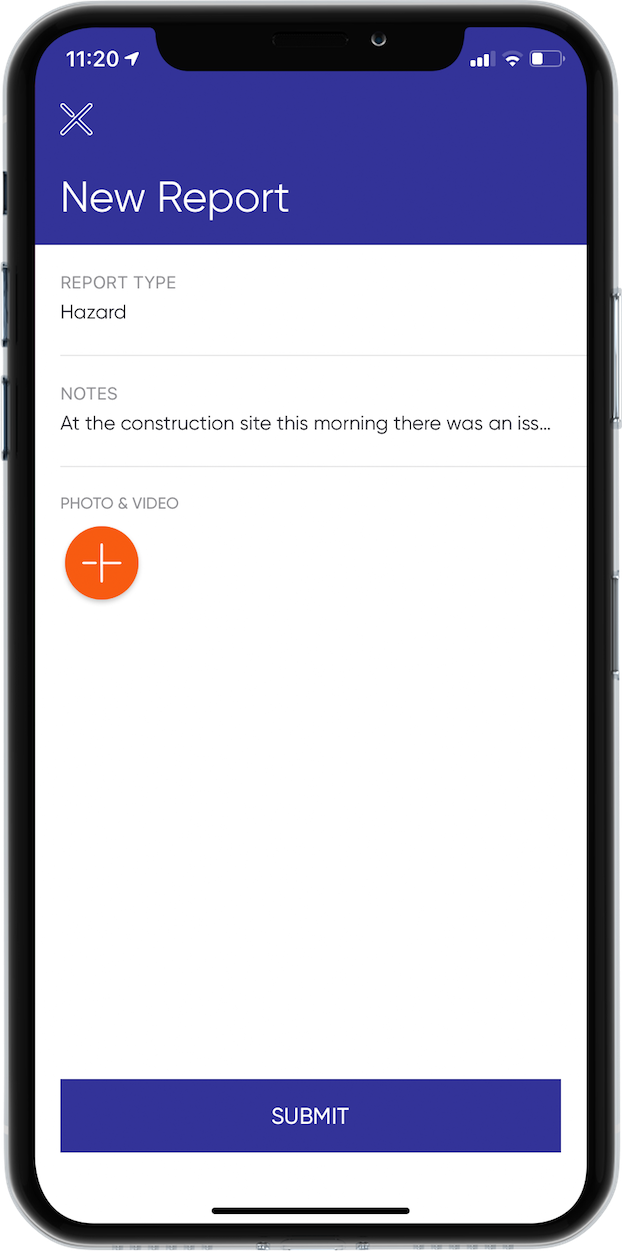 The Hazard Reporting screen in the SHEQSY Lone Worker App for iOS/Android. Users can report all different types of hazards in the workplace to ensure better safety moving forward.