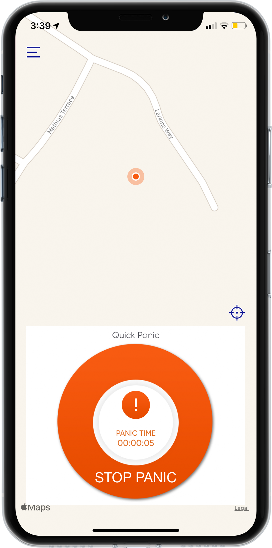 SHEQSY is a smartphone-enabled duress alarm system, which works as one part of an overarching lone worker safety and management solution. This is the SHEQSY app on iPhone with a QuickPanic duress alarm being triggered.